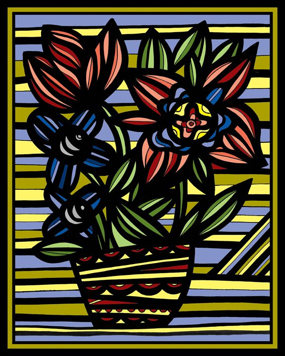 Cessation Flowers Yellow Red Blue - 631 Art