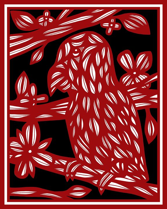 Makela Parrot Red White Black - 631 Art