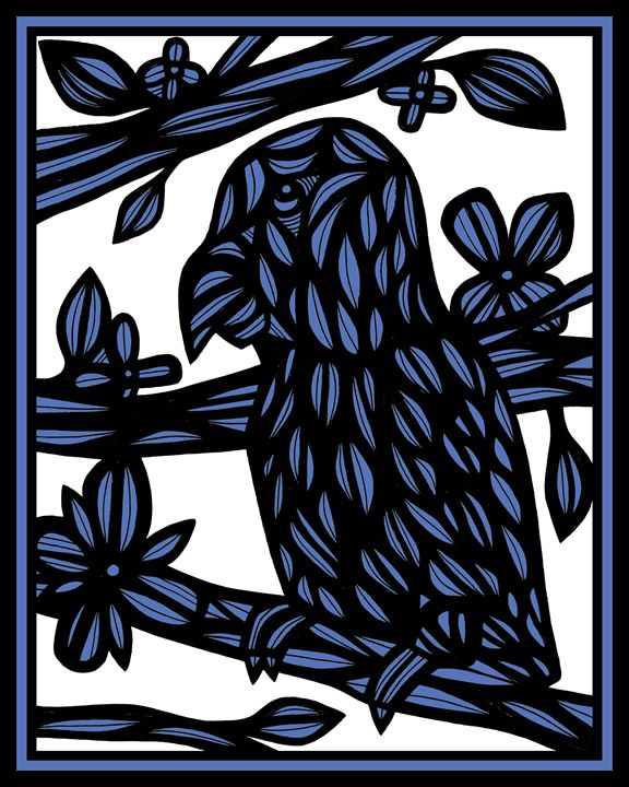 Barbrick Parrot Blue White Black - 631 Art