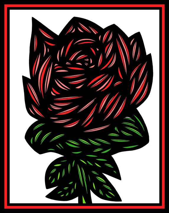Susurrous Flowers Red Green White - 631 Art