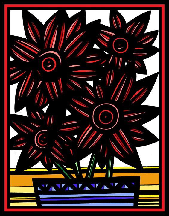 Palatial Flowers Red White Black - 631 Art