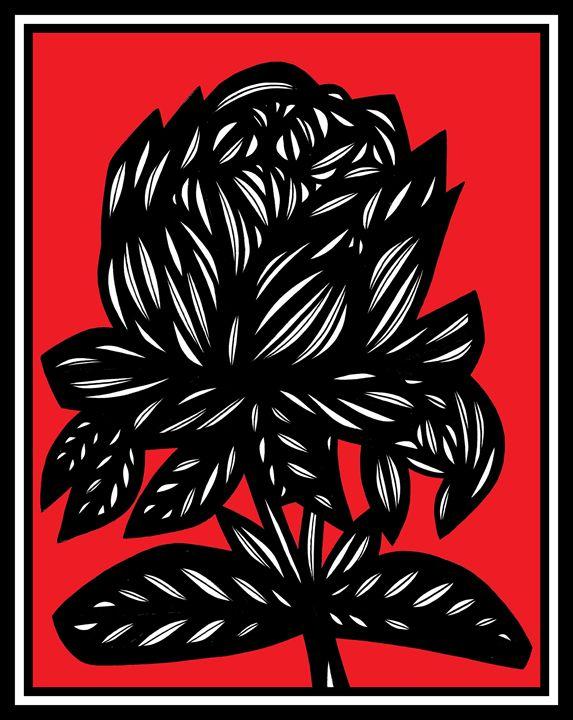 Serendipity Flowers Red White Black - 631 Art