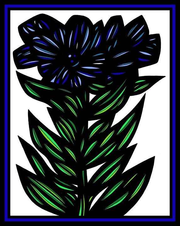 Mithril Flowers Blue Green White - 631 Art