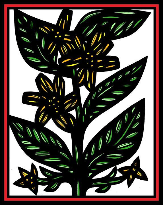 Mormorando Flowers Yellow Green Red - 631 Art
