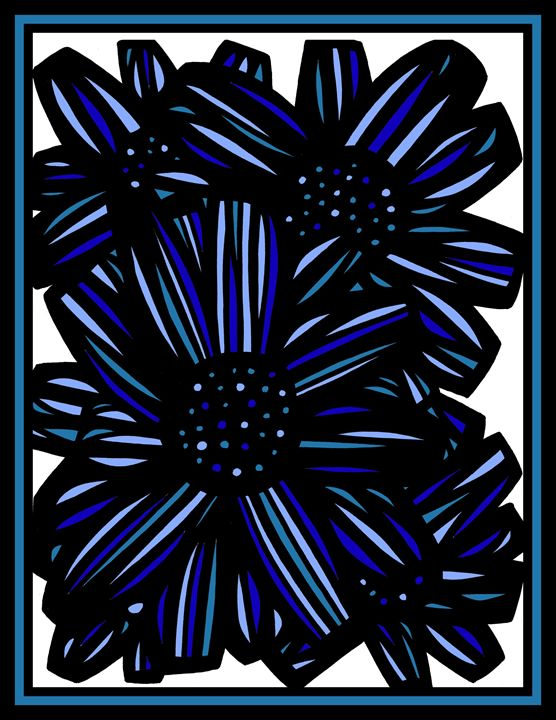 Metier Flowers Blue White Black - 631 Art