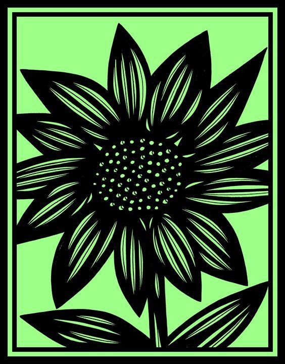 Woebegone Flowers Green Black - 631 Art