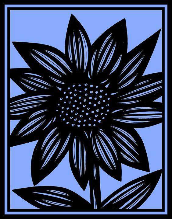 Chiaroscuro Flowers Blue Black - 631 Art