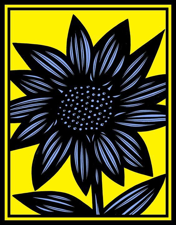 Recherche Flowers Yellow Blue Black - 631 Art
