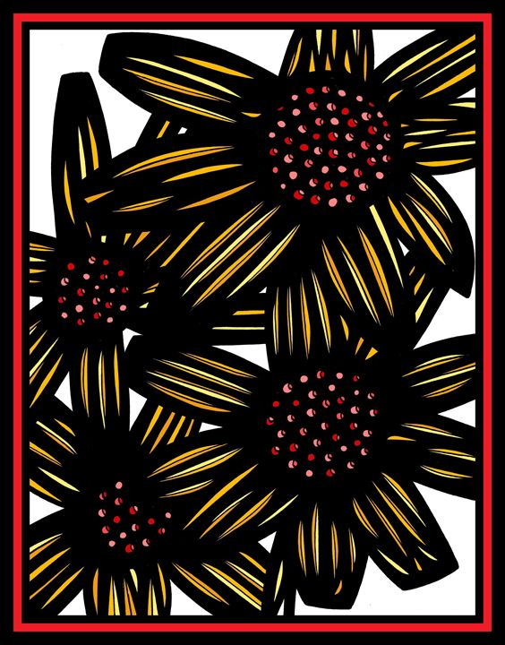 Mephitic Flowers Yellow Red Black - 631 Art
