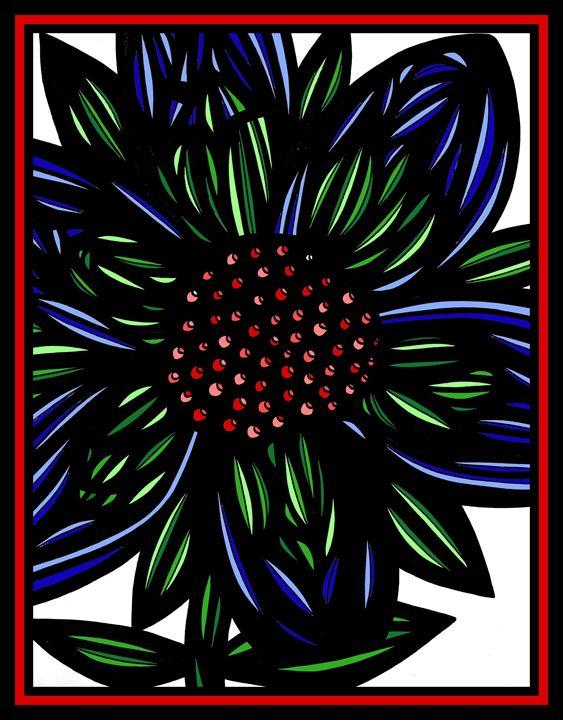 Miasma Flowers Blue Green Red - 631 Art