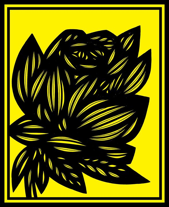 Inertia Flowers Yellow Black - 631 Art