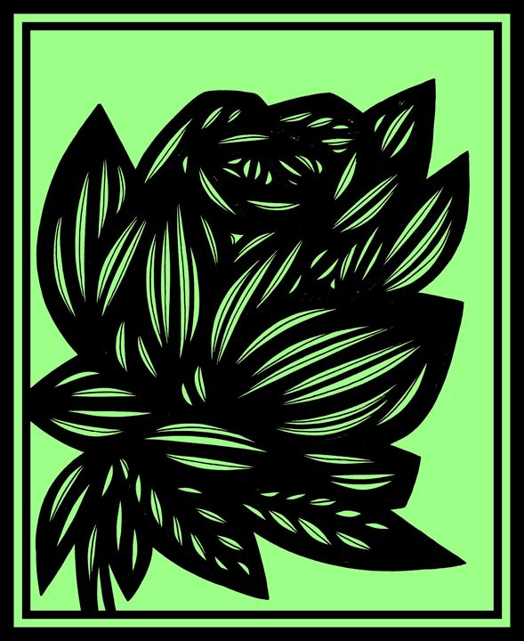 Bricolage Flowers Green Black - 631 Art