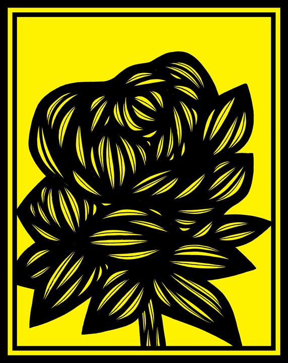 Elision Flowers Yellow Black - 631 Art