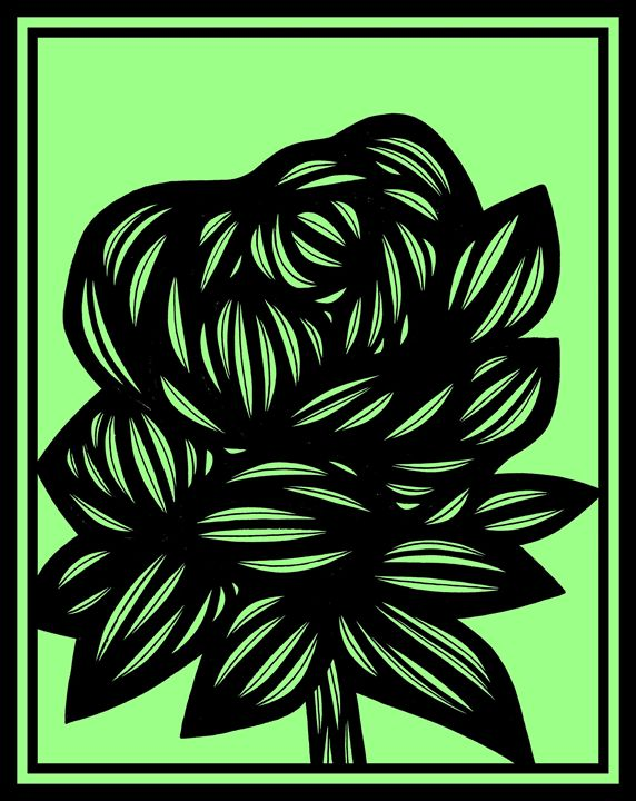 Eloquence Flowers Green Black - 631 Art