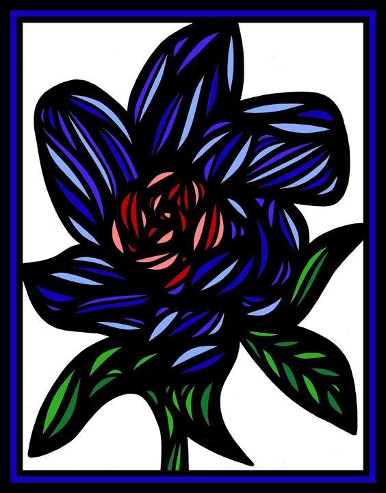 Palliate Flowers Blue Green Red - 631 Art