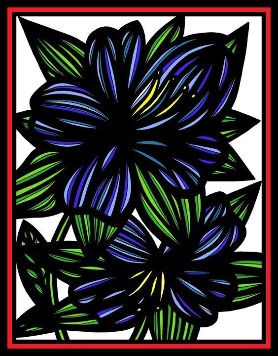 Marionette Flowers Blue Green Red - 631 Art