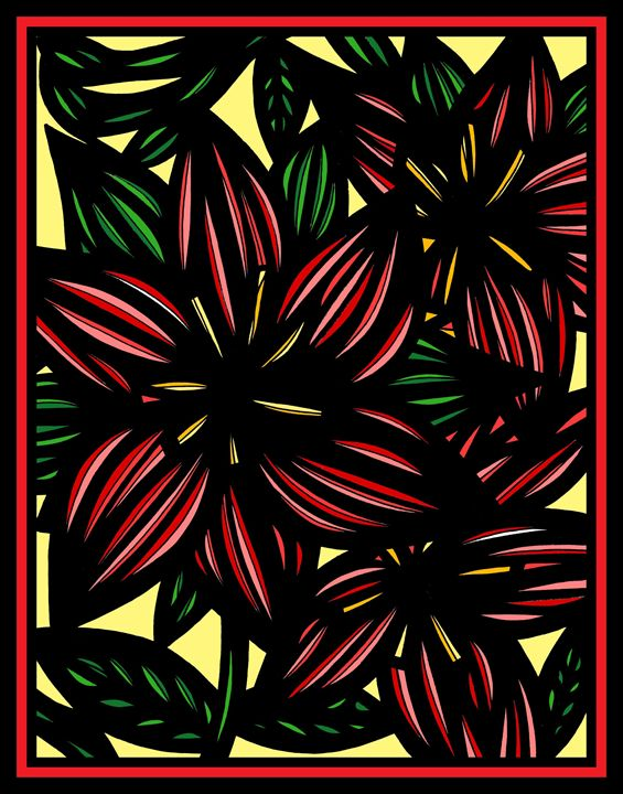 Dislodge Flowers Yellow Green Red - 631 Art