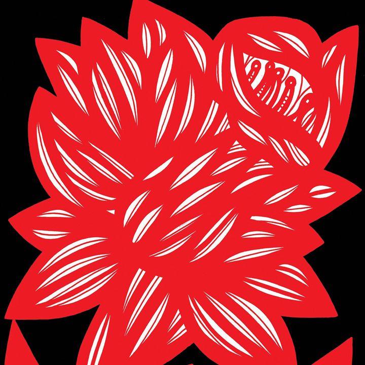 Coquette Flowers Red White Black - 631 Art