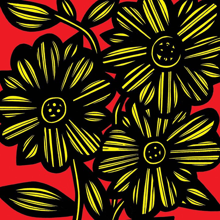Gale Flowers Floral Yellow Red - 631 Art