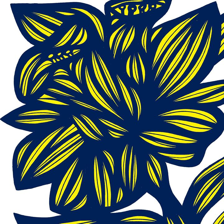 Gambol Flowers Floral Yellow Blue - 631 Art