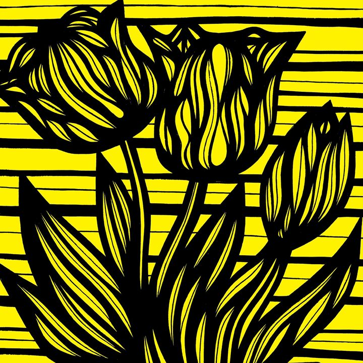 Aria Flowers Floral Yellow Black - 631 Art
