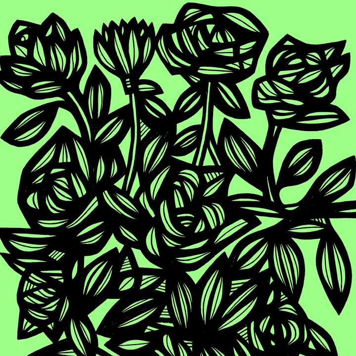Assemblage Flowers Floral Green Blac - 631 Art