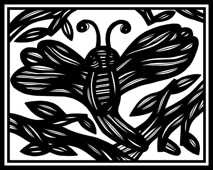 Cathismata Dragonfly Black and White - 631 Art