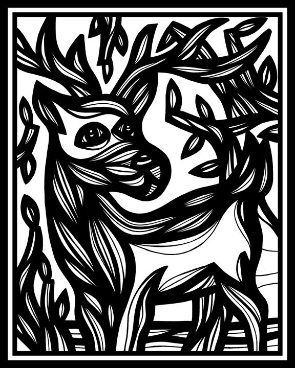 Echolalia Ram Goat Antelope Deer Bla - 631 Art