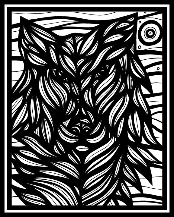 Acoustic Wolf Black and White - 631 Art