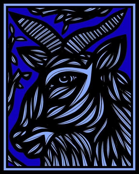 Amethyst Ram Goat Antelope Deer Blue - 631 Art