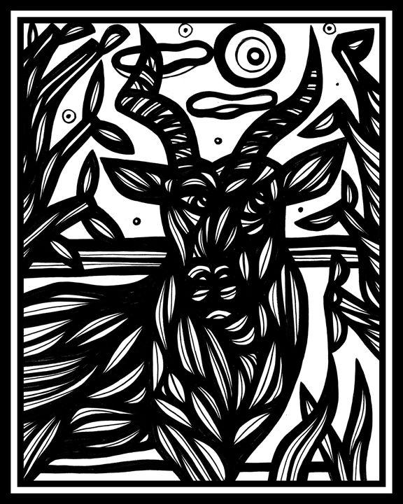 Scintilla Ram Goat Antelope Deer Bla - 631 Art