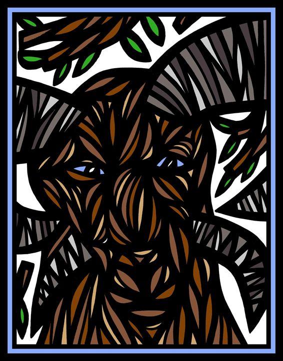 Dawn Ram Goat Antelope Deer Brown Wh - 631 Art
