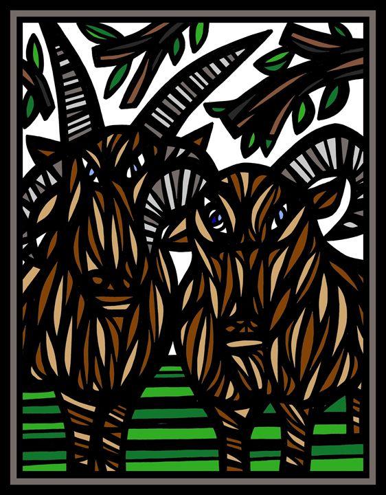 Chariot Ram Goat Antelope Deer Brown - 631 Art