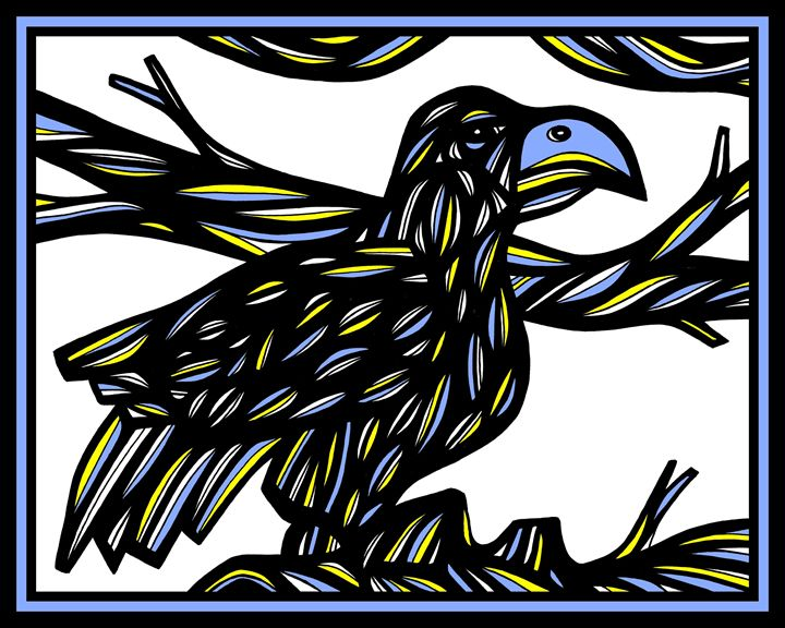 Tojo Bird Yellow Blue Black - 631 Art