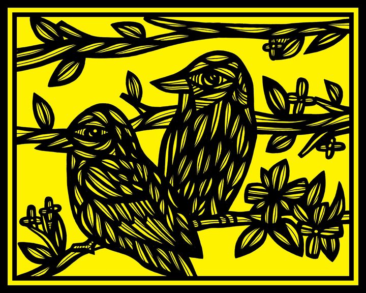 Cawon Bird Yellow Black - 631 Art