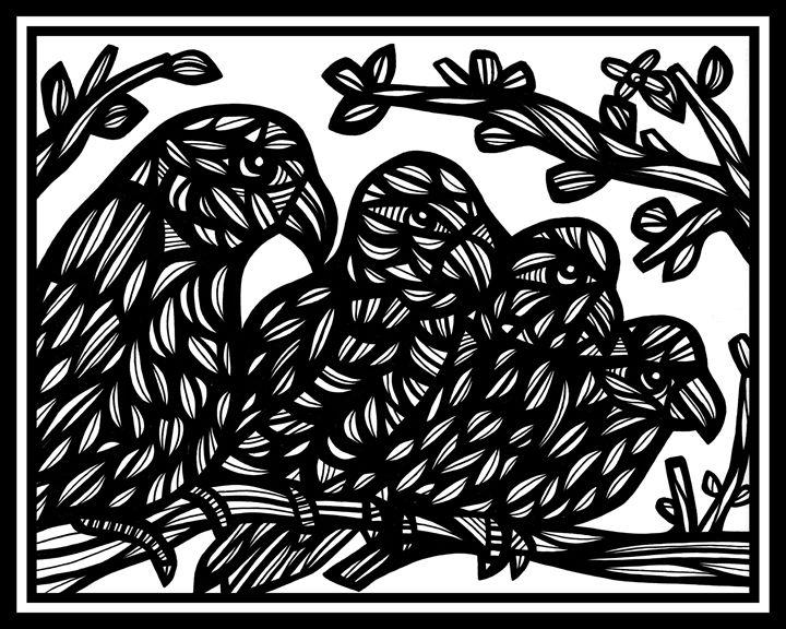 Lesser Parrot Black and White - 631 Art