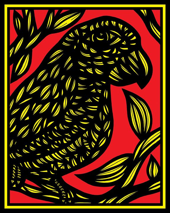 Autumnal Parrot Yellow Red Black - 631 Art