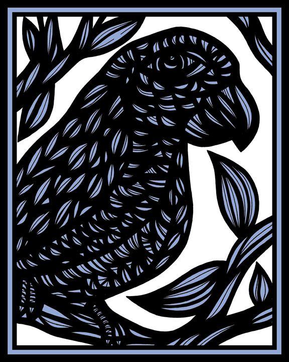 Ephebe Parrot Blue White Black - 631 Art