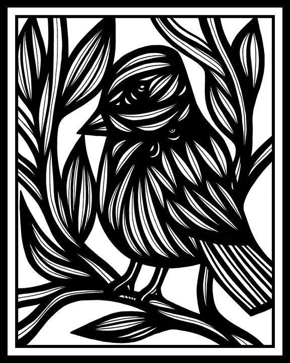 Succinct Bird Black and White - 631 Art