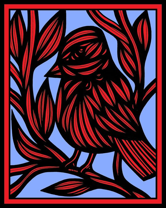 Idyllic Bird Red Blue - 631 Art