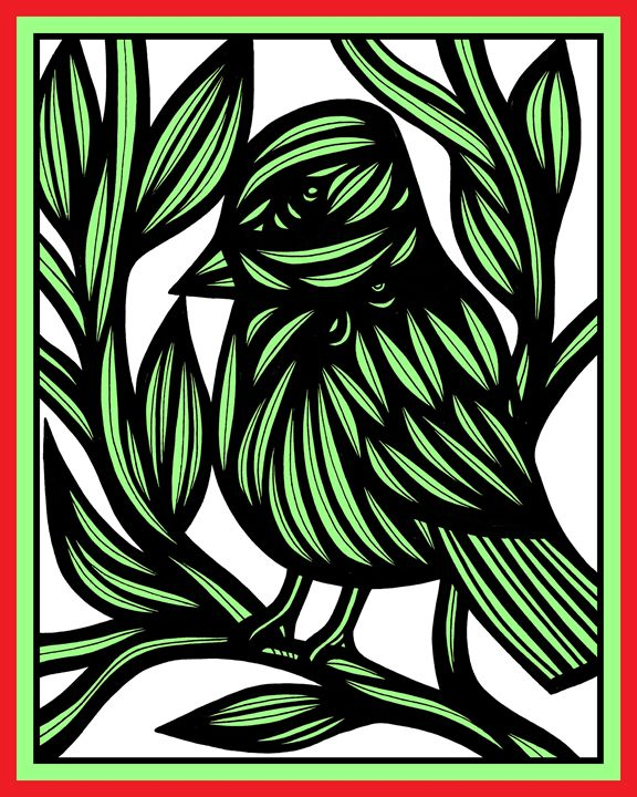 Hubris Bird Green Black - 631 Art