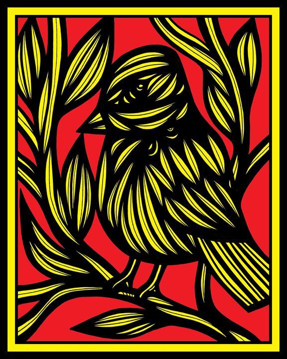 Hyacinth Bird Yellow Red - 631 Art
