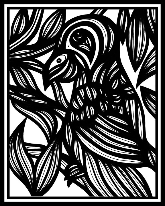 Delineate Parrot Black and White - 631 Art