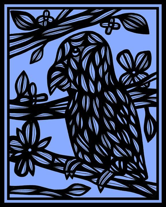 Ocelot Parrot Blue Black - 631 Art