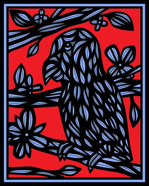 Opalescent Parrot Red Blue - 631 Art
