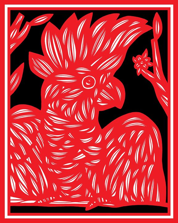 Rapture Cockatoo Red White Black - 631 Art