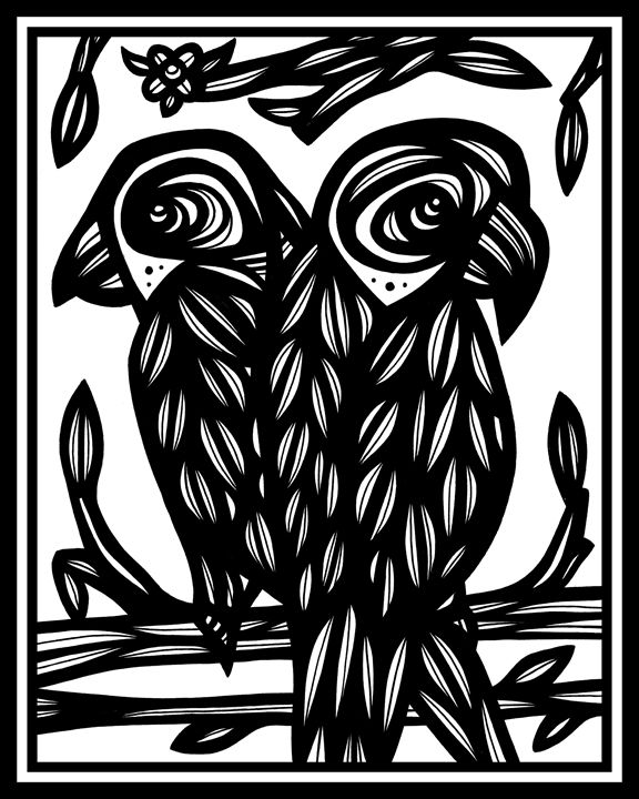 Obsequious Parrot Black and White - 631 Art