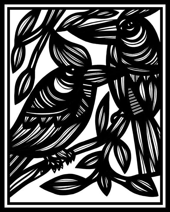 Arabesque Bird Black and White - 631 Art