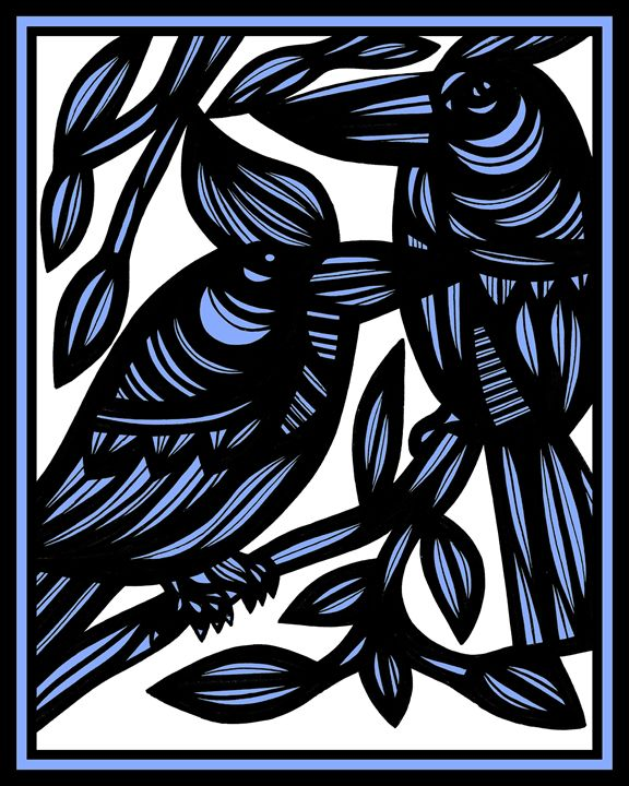 Elixir Bird Blue White Black - 631 Art