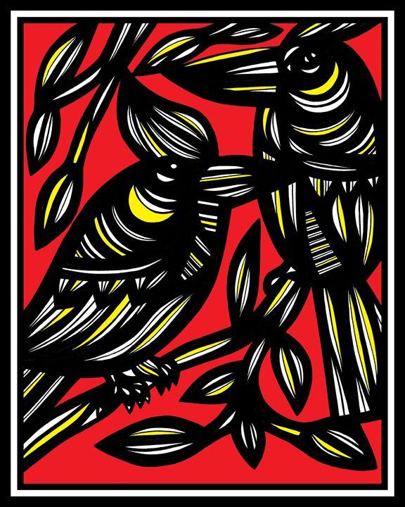 Colophon Bird Yellow Red - 631 Art